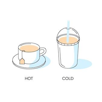 シンプルなグラフィックのホットコーヒーとコールドコーヒー