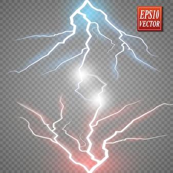 ホットとコールドのスパークリング強度。透明な背景に絶縁された放電を伴うエネルギー雷。赤と青の光による2つの力の衝突。