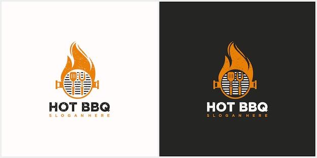 뜨거운 바베큐 또는 그릴 로고 바베큐 포크 주걱