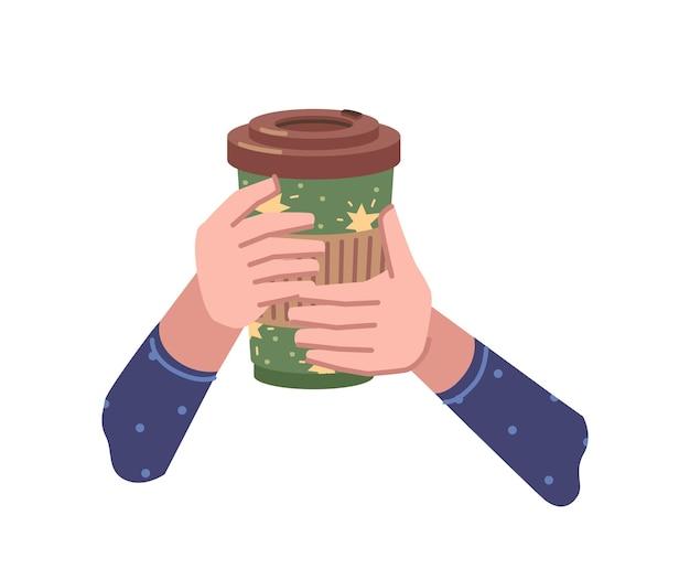 Горячий напиток в бумажный стаканчик на вынос кофе