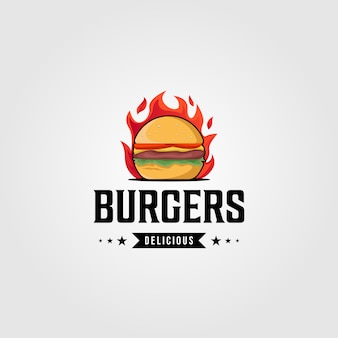 Hot burgers food logo vintage   template