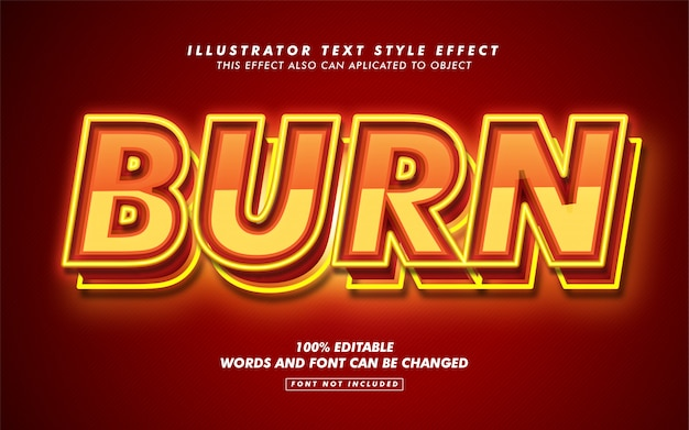 Hot burn text style effect макет