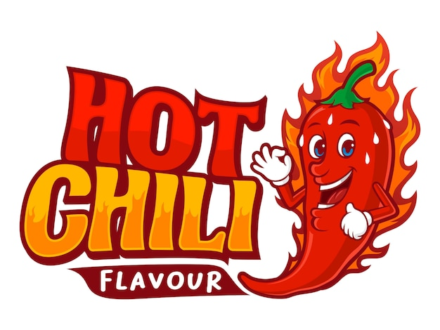 Hot chili flavour, with chili fire cartoon illustrations