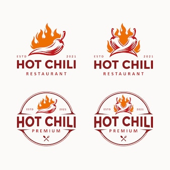 Иллюстрация символа концепции дизайна логотипа горячего чили