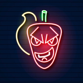 Hot chili neon sign with fire. night bright advertisement design. vector illustration for restaurant, cafe, diner, mexican food