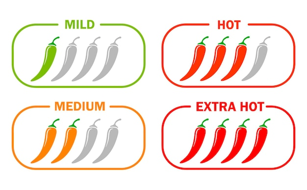 Hot chili pepper icons set moderate to very hot severity simple flat illustration