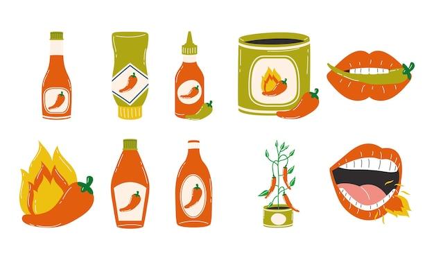 辛い野菜と食べ物のテーマのシンボルコレクションデザインホットチリペッパーソースベクトルイラスト