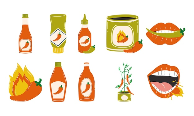 Hot chili pepper sauces symbol collection design of spicy vegetable and food theme vector illustration