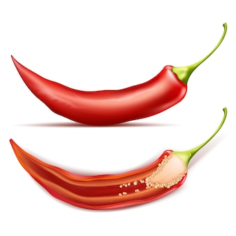 Hot chili pepper, whole and half, isolated on background