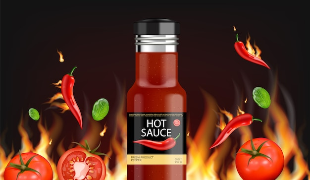 Hot chili sauce fire background