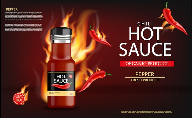 Hot chili sauce on fire