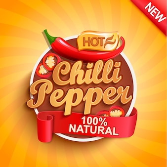 Hot chilli pepper label