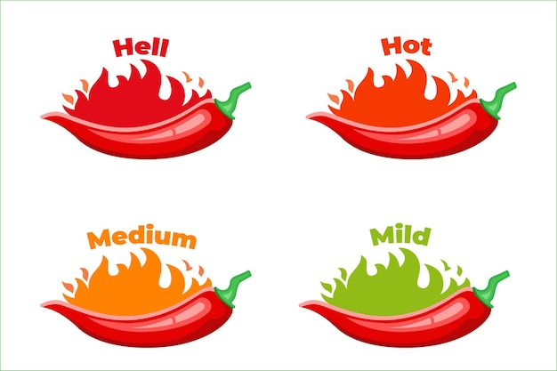 Hot, chilli pepper  level  labels, burning red peppers sauce package icon.