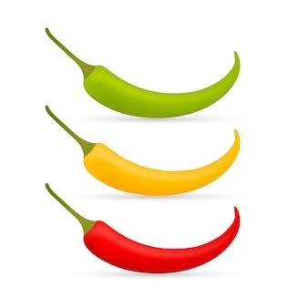 Горячий перец чили векторный набор изолированных. красный, желтый и зеленый