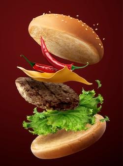 3dイラストで空を飛んでいる熱い肌寒いハンバーガー