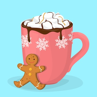 Hot chocolate or cacao in red cup. mug with hot drink and gingerbread cookie. warm cocoa at christmas time. delicious dessert.   illustration