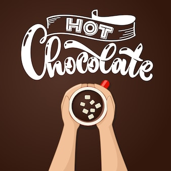 Hot chocolate cup with marshmallow top view. female hands holding cups of coffee. vector illustraion.