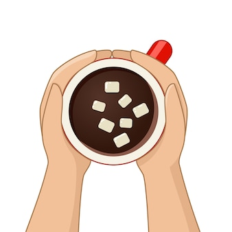 Hot chocolate cup with marshmallow top view. female hands holding cups of coffee. vector illustration.