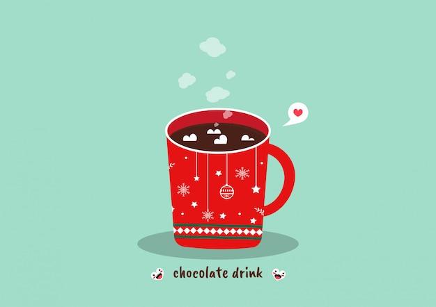 ホットチョコレートドリンクとマシュマロ。クリスマスドリンク。