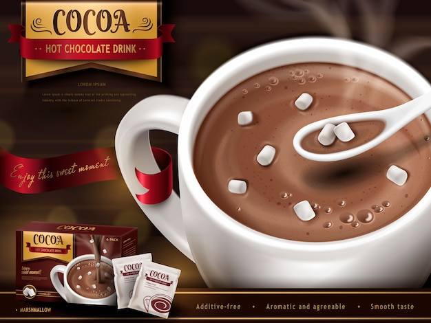 Hot chocolate drk ad, with spoon, small marshmallows and blurred background