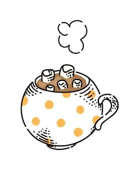 白で分離されたマシュマロとホットチョコレートまたはコーヒー
