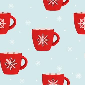 ホットチョコレートのシームレスなパターンの冬の雪の結晶の背景。