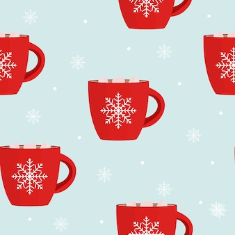 Hot chocolate seamless pattern winter snowflake background.