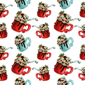 Hot chocolate vector seamless pattern for wallpaper, wrapping, packing
