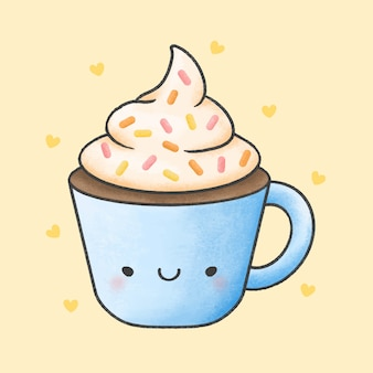 Hot chocolate and whipped cream cartoon hand drawn style