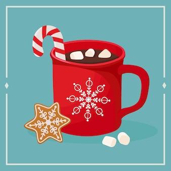 Горячий шоколад с зефиром и имбирным пряником. иллюстрация в рисованной, стиль каракули