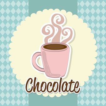 Hot chocolated over blue background vector illustration