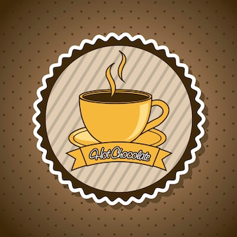 Hot chocolated label over brown background vector illustration