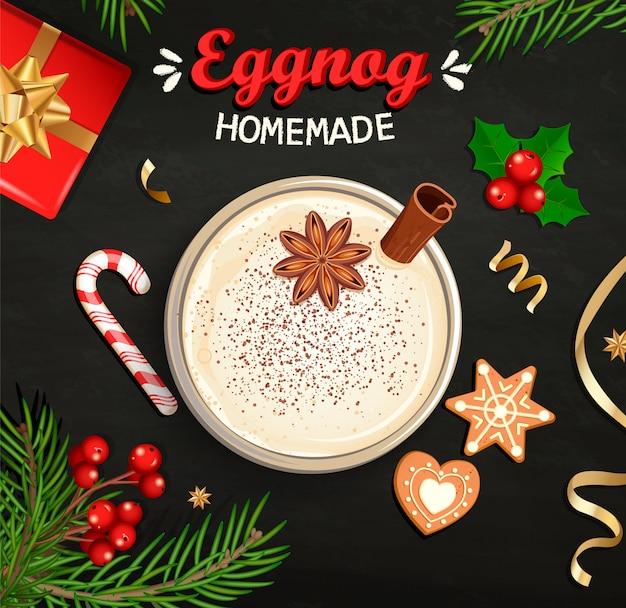 Hot christmas eggnog, homemade mulled wine, grog.