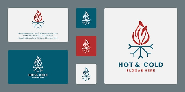 Hot and clod symbol logo design template combination snow and fire