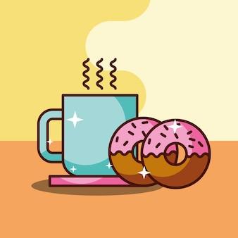뜨거운 커피 컵과 신선한 두 도넛