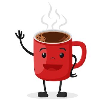 カップでホットコーヒー、笑顔で手を振っています。白い背景の上。