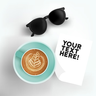 Hot coffee latte in a cup with note paper