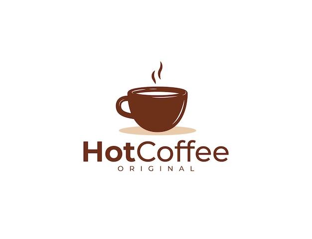 Hot coffee logo design template with brown mug
