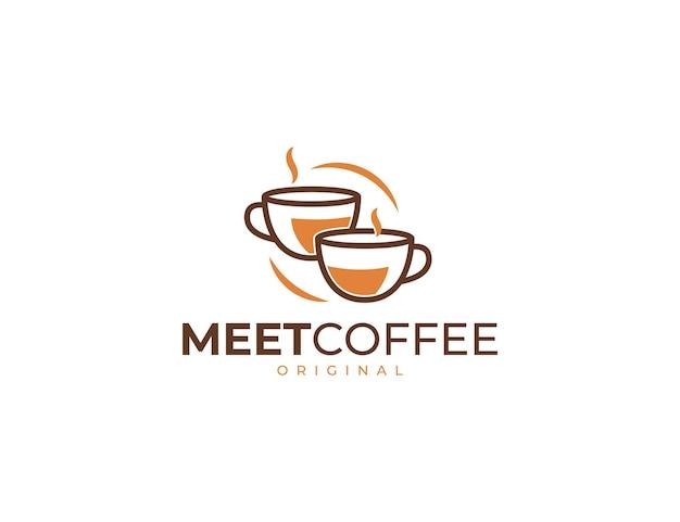 Hot coffee logo with mug illustration