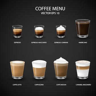 Hot coffee menu in glass cup from espresso machine for coffee shop,