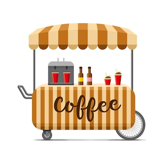 Тележка уличной еды горячего кофе. красочные иллюстрации, мультяшном стиле, изолированные на белом фоне