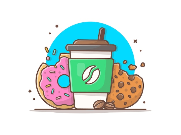 Hot coffee with donut and cookies icon illustration