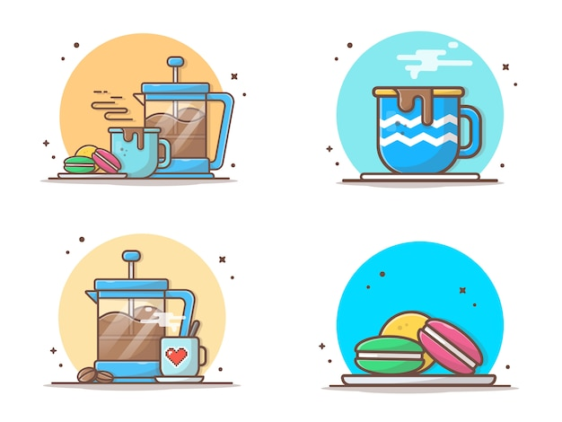 Hot coffee with macaroons and teapot  icon illustration