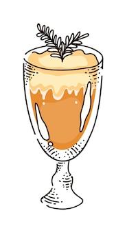 ガラススケッチでミルク、ラテまたはフラッペドリンクとホットコーヒー