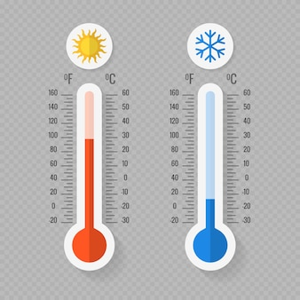 Hot and cold meteorology thermometers