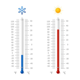 Hot and cold weather temperature symbols. meteorology thermometers with celsius and fahrenheit scale vector illustration