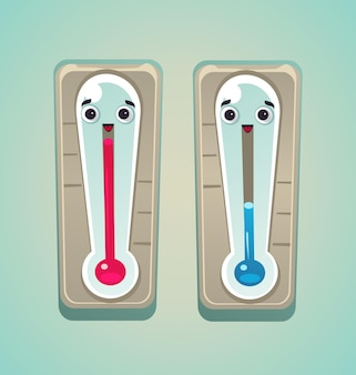 Hot and cold winter and summer thermometers character icon mascot.