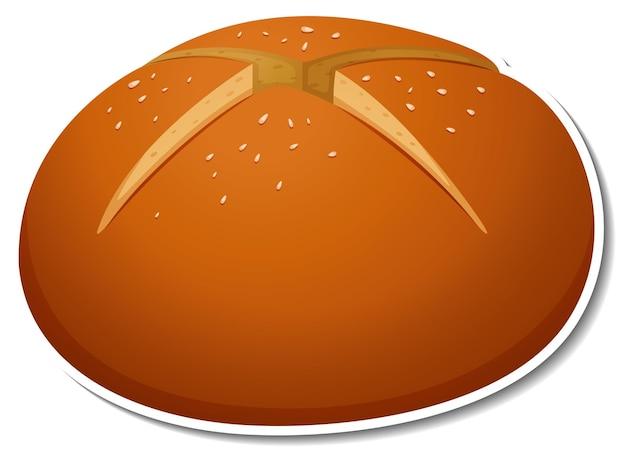 Hot cross bun sticker on white background