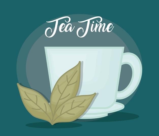 차 잎 뜨거운 차 한잔