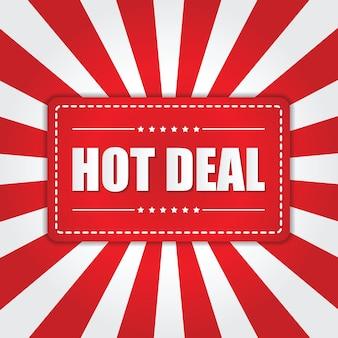 Баннер hot deal с эффектом солнечных лучей